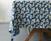 Cotton Block Print Tablecloth- Indigo Blue Leaf Pattern