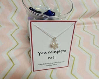Sterling silver puzzle piece charm necklace you complete me romantic gift jewelry