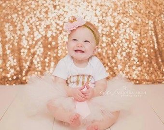 First Birthday Outfit, blush and gold, pink and gold