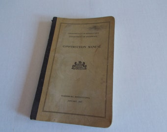 Vintage Department Of Highways Construction Manual Commonwealth Of Pennsylvania