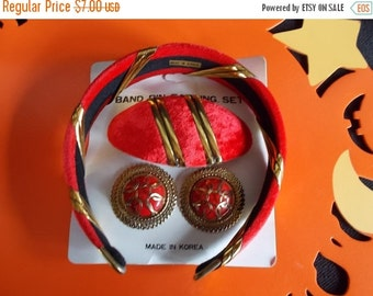 Vintage Red And Goldtone Earrings and Barette and headband set Made In Korea