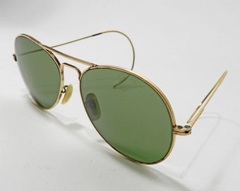 Vintage WW2 NOCRO Aviator Pilot Sunglasses 12K Gold Filled