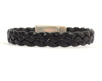 Men's Black Braided Leather Bracelet/Men's Black Leather Bracelet/Black Leather Bracelet/Black Braided Leather/Magnetic Clasp (10F-509)