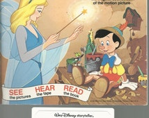 1979 Read Along Book and Tape - WALT DISNEY - Pinocchio and Lady and the Tramp  - 2 Books with 1 Cassette - 24 Page Read Along Book Tape
