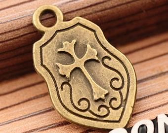 10 Shield Charms, 24x14mm Antique Bronze Shield Charms Pendant, Cross Shield Charms