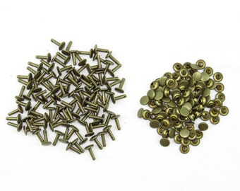 "Antique Brass Double Cap Rivets Extra Large - Pack of 100 Rapid Rivets 12 mm - Bronze 1/2"" Rivets"