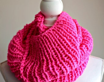 chunky knitted scarf, infinity scarf, pink scarf, sale, scarf