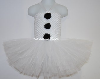 Sale Cute Snowman tutu dress Holiday Frosty crochet top with flowers newborn to 7 years