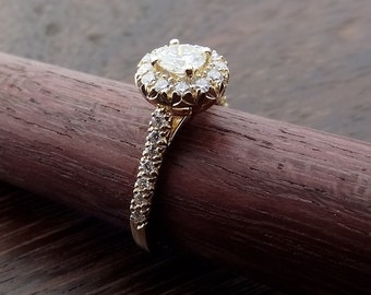 Moissanite with Diamond Halo Engagement Ring Hand Made Vintage / Antique Style 18k Yellow Gold