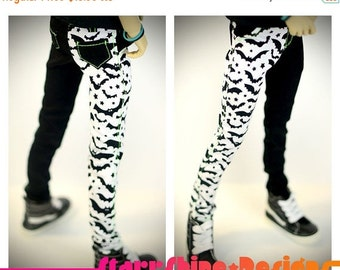 Sale 25% Off BJD MSD 1/4 Doll Clothing - White and Black Bats Print Skinny Pants