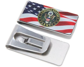 Stainless Steel Money Clip with Army Symbol and America Flag