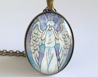Weeping Angel - Doctor Who - Original Painting - One of a Kinde - Watercolor Art Pendant Necklace