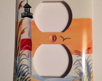 Lighthouse with Red Stripe single outlet switchplate cover