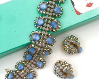 Hobe' Blue Moonglow Demi, Bracelet and Earring Set, Blue Aurora Borealis, Designer Signed, Wedding Jewelry, Special Occasion, Vintage Bridal