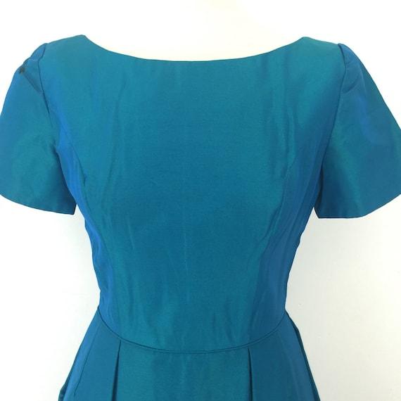 1950s dress turquoise blue tonic fabric 50s evening dress vintage wedding bridesmaid UK 10 handmade formal ballgown