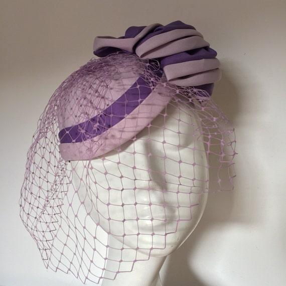 vintage fascinator lilac purple netted veil tilt design round hat 1950s 1960s vintage wedding goodwood frilly Mitzi Lornez