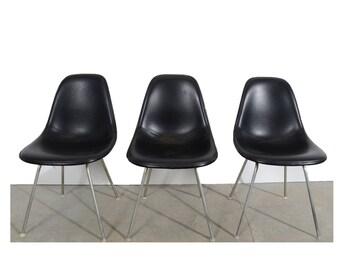 Eames Black Shell Chair Herman Miller Fiberglass Shell Chairs on H base