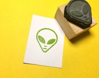 Alien Head Rubber Stamp