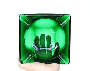 Vintage Green Glass Ashtray - Vintage Ashtray - Green Glass Ashtray - Green Decor - Decorative Ashtray - Modern Ashtray - 1960s Home Decor