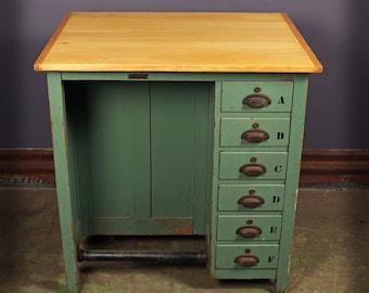 Vintage Industrial CF Pease 6 Drawer Artists Drafting Desk