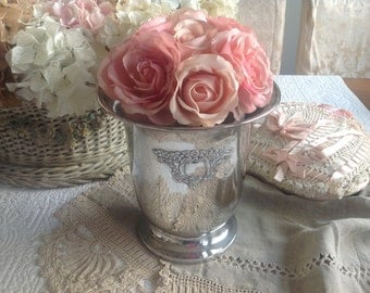 Beautiful vintage shabby French cottage silver plated roses or bottle cooler