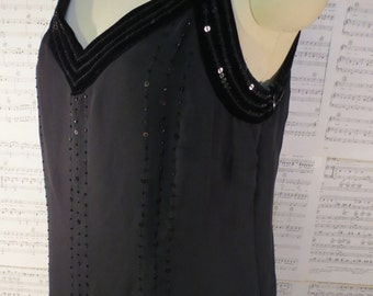 black tank top vintage Bead & Sequin Embellished top