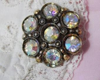 White Metal Vintage Button with Aurora Borealis Paste Stones