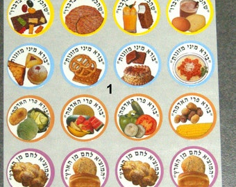 Judaica Holiday Symbols Stickers Children Teaching Aid Israel Hebrew lot of 10 Sheets