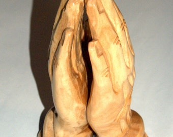 Hand Carved Olive Wood Praying Hands Figurine Statue Bethlehem Holy Land