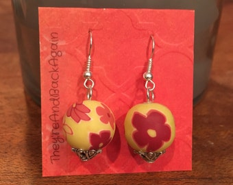 Red Flowers on Yellow Clay Bead Earrings