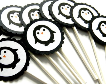 12 Penguin Cupcake Toppers, Penguin Birthday, First Birthday, Baby Shower, Penguin Theme, Penguin Party, Winter Wonderland, Winter Party