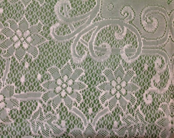 Vintage Vinyl Tablecloth Bright Green and White Lace Vinyl Tablecloth