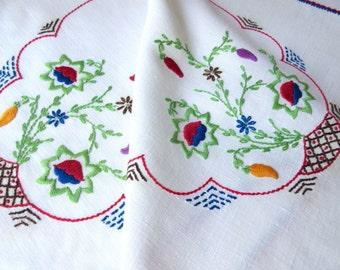 Vintage Runner   Needlework  Table  Linens Handmade  Floral Embroidered Linen Dresser Runner .