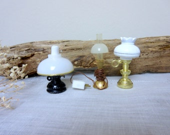 Miniature Lamps   Dollhouse  Table Lamp  Hurricane Lamps  Vintage   Tiny  Lamps - set of 3.
