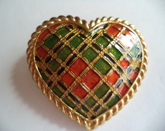 Vintage Signed Butler and Wilson Goldtone Tartan Heart Brooch/Pin/Pendant
