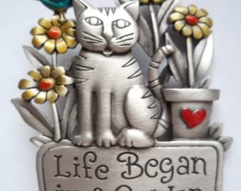 Vintage Signed JJ  Silver pewter Cat Life Began in a Garden Brooch/Pin