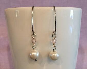 Wedding Earrings - Faux Pearl and Pink Earrings - Bridesmaid Earrings - Faux Pearl Jewelry - Pink Bridal Earrings - Pale Pink Jewelry