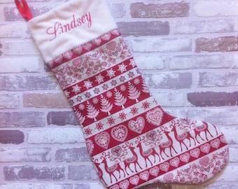 Scandi hearts, reindeer, tree  personalised Christmas stocking
