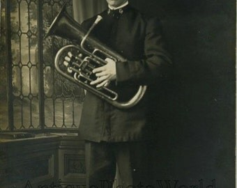 Military man with tuba antique music photo