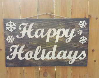 Cutout Wooden Sign Happy Holidays Cutout sign  - Happy Holidays 16 x 32 Gorgeous Rustic Sign