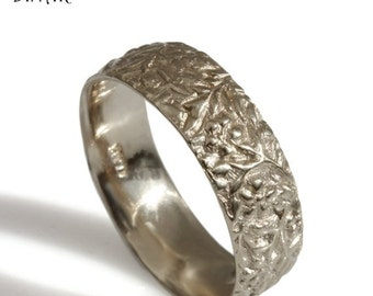 thick 14k white gold wedding band, wedding ring, women gold band, rustic nature inspired Floral 7mm Wide gold band, flowers leaf Engravings