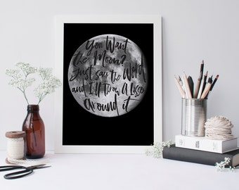 Lasso the Moon - It's a Wonderful Life - Printable, Instant Download Inspirational Decor- 8x10 Motivational Poster