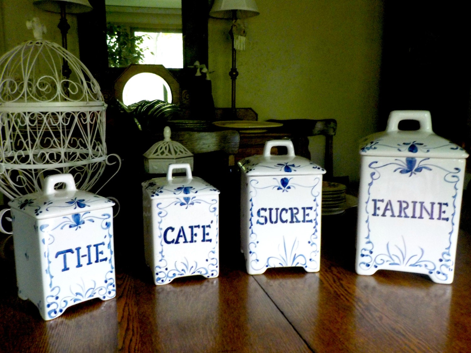 canister set french country blue white canisters sucre french country kitchen canisters ceramic kitchen canisters