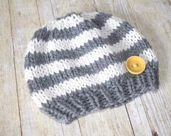 baby boy hat, newborn hat, knit hat, custom baby hat, knit flower hat, crochet baby hat, knitted baby, baby beanie, photo prop, striped hat