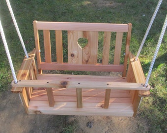 Children's (Toddler's)cedar wood double porch heart swing with watereal