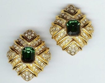 Joan Rivers Clip Earrings - Emerald Green with Crystals - S1963