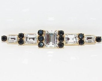 Monet Brooch - Black and Crystal Pin in Gold Tone - S1251
