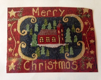 Merry Christmas Rug Hooking Pattern