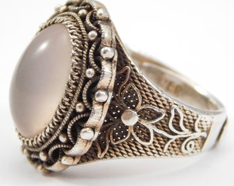 Chinese Silver Filigree & Rose Quartz Ring