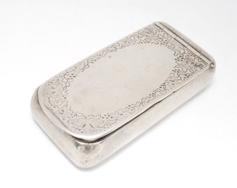 Victorian Sterling Engraved Wood & Hughes Snuff Or Matchsafe Box
